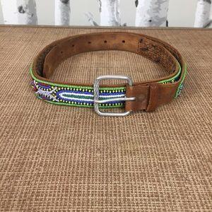 Vintage Hand-beaded Leather Belt